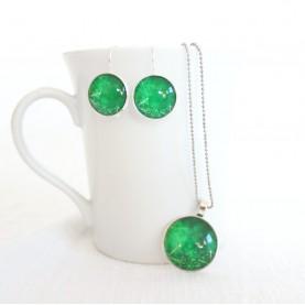 Sada náušnice a náhrdelník - Vločky na zelenej