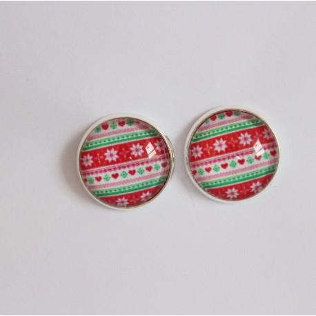 Náušnice napichovacie - červeno-zelené Vianoce
