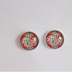 Náušnice napichovacie - červeno-zelené Vianoce 2