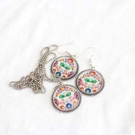 Set náhrdelník a náušnice Folk farebný folklór