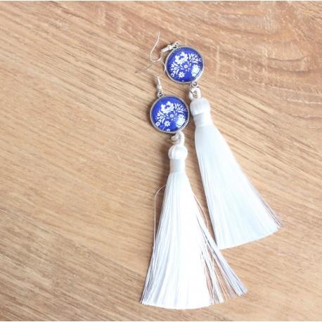 Náušnice strapcové - Modrý maľovaný folk