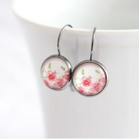 Náušnice - Ružové ružičky mini