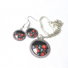 Sada náušnice a náhrdelník - Čierna folk stuha