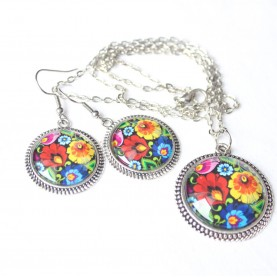 Sada náušnice a náhrdelník - Farebný folk na čiernej