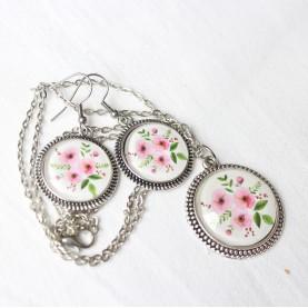 Sada náušnice a náhrdelník - Ružová jemnosť