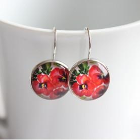 Náušnice - Červené kvety