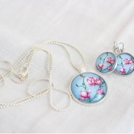 Set náušnice a náhrdelník - Ružové na modrom