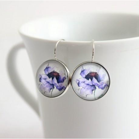 Náušnice - Maľovaný kvet fialová